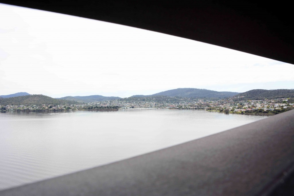 Limited View Between Railings on Tasman Bridge