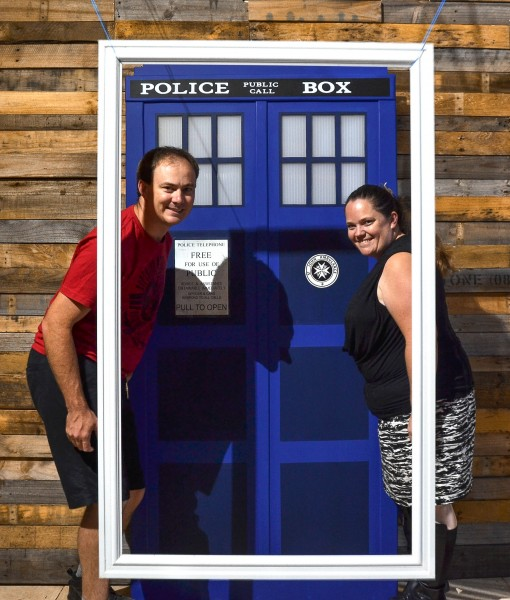 Nat & Amie with their TARDIS Door