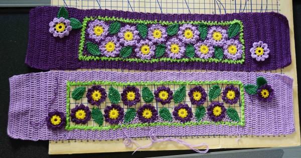 Two Crochet Flower Scarves